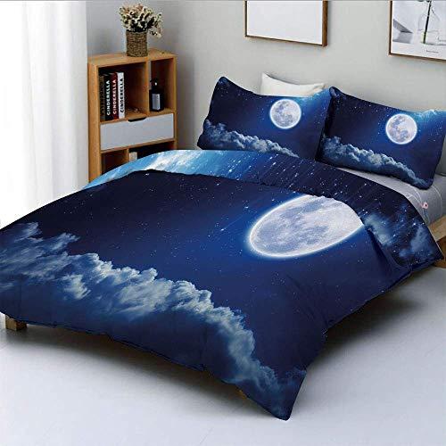 Set copripiumino, luna piena, misteriose stelle cadenti, cieli adorabili nuvole, elementi dell'universo, set di 3 pezzi decorativo, con 2 fodere per cuscini, blu indaco bianco, miglior regalo per K Ea