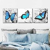 XIANRENGE Leinwanddrucke,3 Panel Blauen Schmetterlings