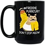 N\A Freddie-Meow-Mercury Divertido Meme Gato mamá Gatito Regalo Camiseta (Taza Negra; Negro)