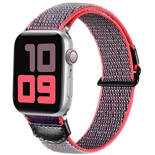 JUVEL Compatible with Apple Watch Strap 40mm 38mm, Soft Sport Loop Breathable Nylon Fabric Replacement WristBands Compatible for Apple Watch SE/iWatch Series 6/5/4/3/2/1, Women Men Greyblue