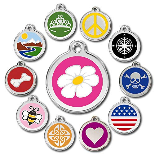Deluxe Deep Engraved Stainless Steel Designer Pet ID Tags - Engraving Will Last! - Now Selling on Amazon! 120 Choices of Pet Tags, Dog Tags, Cat Tags Most Ship Next Day (Hot Pink, Daisy)