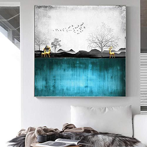 HERW Cuadro sobre Lienzo Mo Tain Lake Tree Elk Pintura Naturaleza Paisaje Cartel Abstracto Decoración Paisaje Impresión Pared Arte Lienzo Pintura