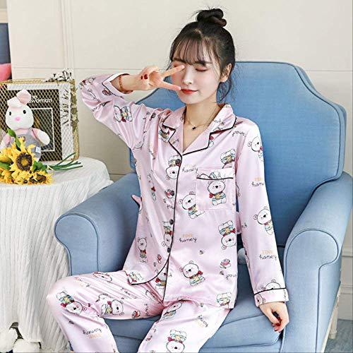 Conjunto de Pijamas de satén para Mujer Ropa de Dormir Sedosa Lindo Oso de Dibujos Animados Pijama Cuello Vuelto para niña Ropa de Dormir Ropa de salón XL Rosa