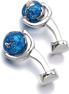 LCZ Mode Globe Terre Boutons De Manchette Bleu Rotating Planète Terre Carte du Monde Globe Boutons De Manchette Hommes Cuf...
