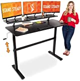 "Stand Steady Tranzendesk 55 in Standing Desk with Clamp On Shelf | Easy Crank Height Adjustable Stand Up Workstation with Attachable Monitor Riser | Holds 3 Monitors & Adds Desk Space! (55"" / Black)"