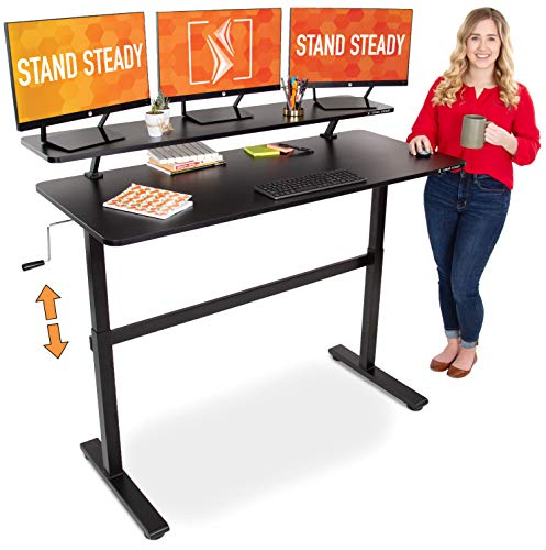 Stand Steady Tranzendesk 55 in Standing Desk with Clamp On Shelf | Easy Crank Height Adjustable Stand Up Workstation...