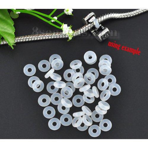 10 x Gummi-Ringe aus Silikon, 6 mm, für Clip-Stopper-Perlen und Charm-Anhänger, transparent