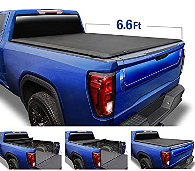 """Tyger Auto T1 Soft Roll Up Truck Bed Tonneau Cover for 1988-2007 Chevy Silverado / GMC Sierra 1500 2500 HD 3500 HD 2007 Classic ONLY Fleetside 6'6"""" Bed TG-BC1C9009, Black"""