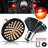 BOKERMI 1156 LED Rear Turn Signal Light Bulb Red 60-SMD 7506 1141 93 P21W BA15S Single Contact Replacement for Motorcycle Harley Davidson Rear Lamp (2 Pack)