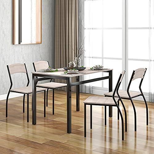 LIFE CARVER 5-Piece Steel Frame Dining Set for Kitchen or Dining Room,Country Style Dining Table with 4 Chairs