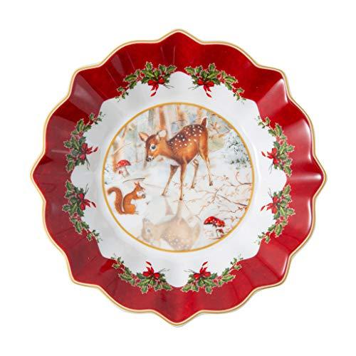 Villeroy & Boch - Toy's Fantasy Schale klein, Rehkitz, dekorative Schale aus Premium Porzellan, 16.5 x 16.5 x 3 cm, bunt/rot/weiß