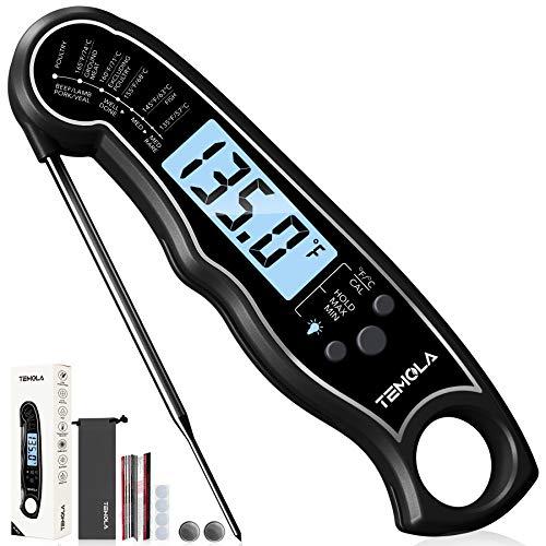 Fleischthermometer, Digitales Bratenthermometer, TEMOLA TM26 Grillthermometer wasserdicht thermometer LCD Hintergrundbeleuchtung kalibriert zum Backen, BBQ Wasser Öl Flüssigkeiten Küche (Schwarz)