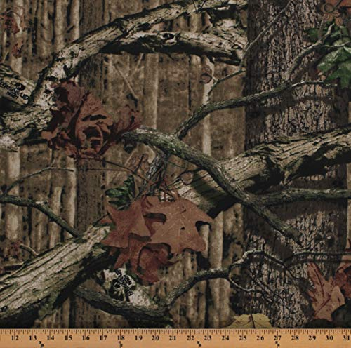 Decorator Fabric Mossy Oak Canvas Camouflage Green Tan Brown Heavy Weight 60' Wide Cotton Blend Canvas Fabric by The Yard (A509.21)