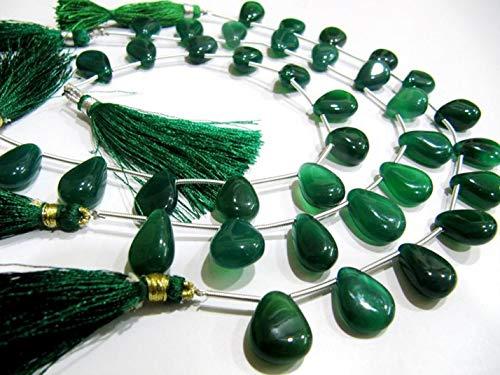 Shree_Narayani Natural Verde Onyx Pera Corazón Forma Liso Liso 10x15mm Tamaño Lateral Taladrado Perlas Strand 8 Pulgadas Precios Mayoristas Largos Cuentas de Piedra de nacimiento 1 Strand