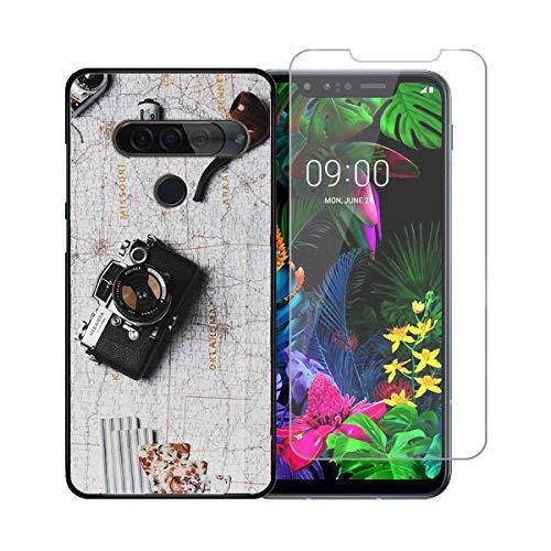 DQG Panzerglas + Hülle für LG G8S ThinQ,Schwarz Cover TPU Handyhülle Silikon Tasche Hülle Schutzhülle - HD Schutzfolie Anti-Fall Bildschirmschutzfolie für (6.21