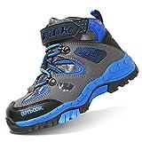 VITIKE Kids Boys Mid Waterproof Hiking Boots Velcro High Top Winter Leather Hiking Shoes Plush/Grey/Blue, Big Kid 3.5