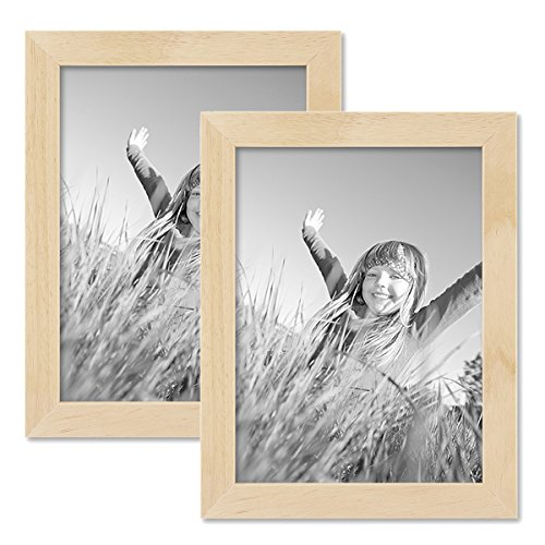 Set de 2 Cadres Photo 15x20 cm pin Naturel Moderne Bois Massif avec vitre et Accessoires/Cadre Photo