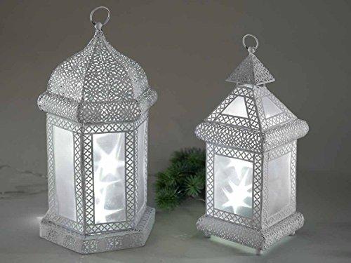 Formano Laterne mit Licht Stern Folie weiß Metall 633859 633866 Weihnachten Winter Dekolateren Dekoration, Größe:34cm