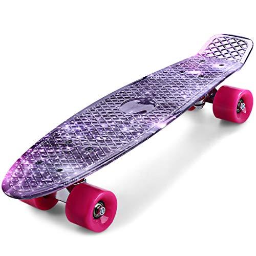 Dawwoti Cl - 95 Druck Lila Sternenhimmel Muster Skateboard Komplett 22-Zoll-Retro Cruiser Longboard