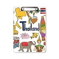 タイ風景動物の国旗 フラットヘッドフォルダーライティングパッドテストA4