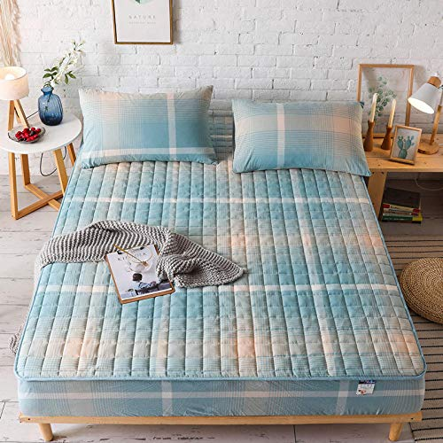 Mattress Protector Doublewashed Cotton Bed Lily Single Piece Pure Cotton Full Cotton Thickened Cotton Bed Cover Bed Cover Non-Slip Fixed Mattress Cover Cover Protective Cover-Light Blue Grid_200X220