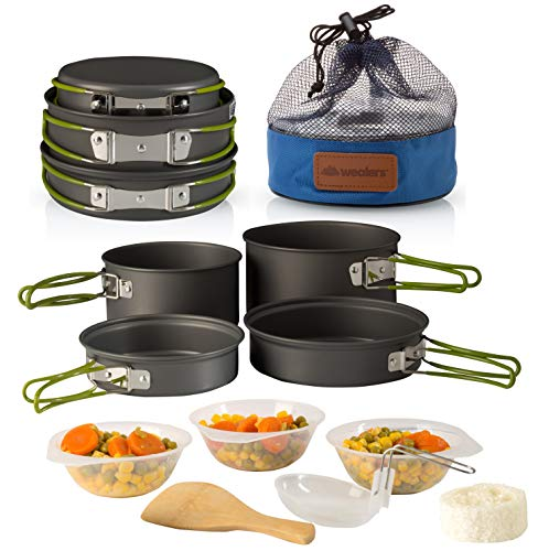 Wealers Camping Cookware 11 Piece Outdoor Mess Kit Backpacking| Trailblazing add on | Compact| Lightweight| Durable with Chef Pots, Bowls, Utensils...