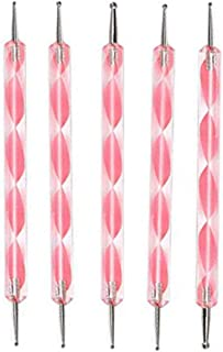 Cinlla Nail Art 2 Way Double Ended Acrylic Rhinestones Tip Dotting Paint Pen Tool Manicure Tool 5 Pcs Pink