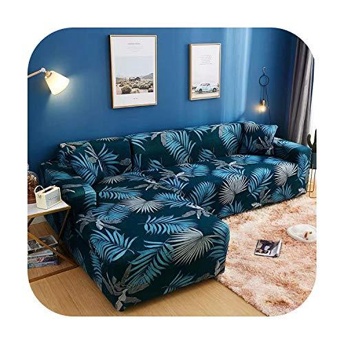 Funda de sofá en L, geométrica, color naranja, universal, funda de sofá seccional, fuerza elástica, funda de muebles de salón 9-1-seat 90 – 140 cm