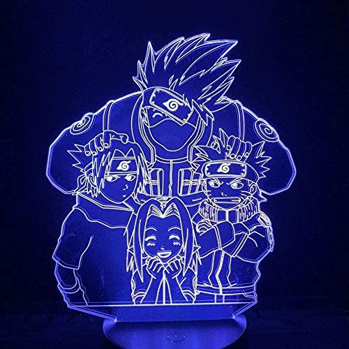 Naruto Sasuke 3D luz de noche LED colorido deslizante USB táctil Control remoto lámpara de escritorio hogar dormitorio decoración niños juguetes de regalo especiales