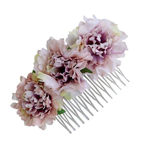 HomeDecTime Peineta para El Cabello con Flores De Clavel De Seda para Lady Bridal Hair Party Accessories - Rosa Ceniza