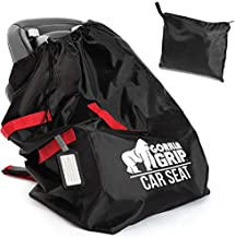 Gorilla Grip Car Seat Bag with Pouch and Luggage Tag, Adjustable Padded Backpack Straps, Many Colors, Easy Carry, Universal Size Travel Bags, Airport with Baby, Airplane Gate Check, Red Black Straps