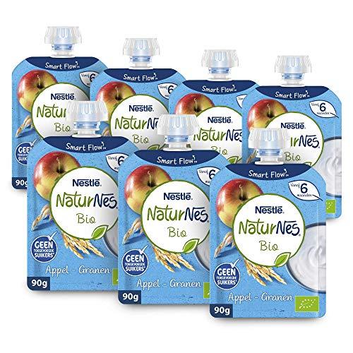 Naturnes Bio Knijpfruit Appel, Granen, Zuivel 6+ Maanden - 7 Knijpzakjes van 90 gram
