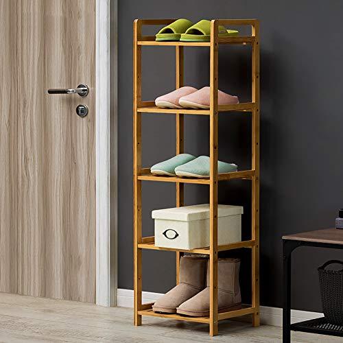 5-nivel Rack De Zapatos De Bambú,Apilable Gran Capacidad Organizador De Almacenamiento De Estanterías De Zapatos,Estantes Para Zapatos Freestanding Para La Entrada De Armarios,Libr-Color de madera 35x