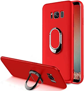 Aearl Compatible with Samsung Galaxy S8 Plus Case,360 Degree Rotation Metal Finger Ring Grip Holder Kickstand Soft Scrub TPU Protective Case Cover with Support Magnetic Car Mount Function-Red