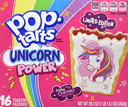 Kelloggs's Poptarts Unicorn Power 32 Piece Limited Time Offer Toaster Pastries, 58.6 Ounce