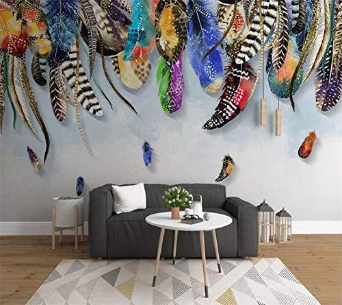 Papel Pintado 3D Pluma de colores Fotomurales Decorativos Pared Pluma Doodle Moderna Fotomurales Multicolor Decoración De Pared Sala Cuarto Oficina Salón 300 cm x210 cm