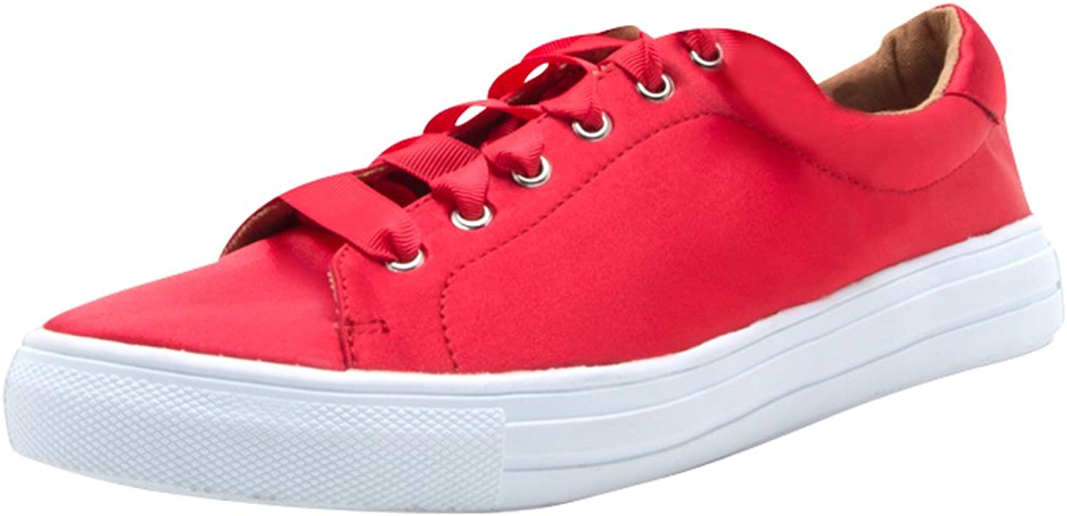 Cambridge Select Women's Low Top Closed Round Toe Lace-Up Flatform Fashion Sneaker