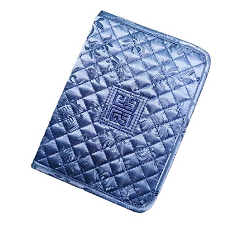 Noobi Quilted Traditional Unique Style Passport Cover Wallet Soft Passport Case Good Quality Beautiful Colored (Gray Blue)