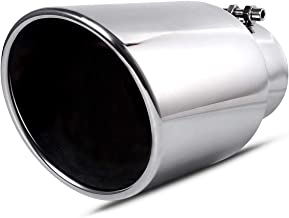 Maxiii Chrome Exhaust Tip 4 Inch Inlet x 6 Inch Outlet x 12 Inch Long Bolt On Polished Stainless Steel Slant Cut Tailpipe