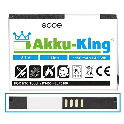 Akku-King Akku kompatibel mit HTC BA S230, ELF0160-1150 mAh - für Touch, MDA Touch, O2 Xda nova, Dopod S1, P3450, Touch Elf 100, Vodafone VPA Touch - Li-Ion