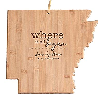 Engraved Where It All Began Arkansas State Cutting Board, Bamboo, Personalized