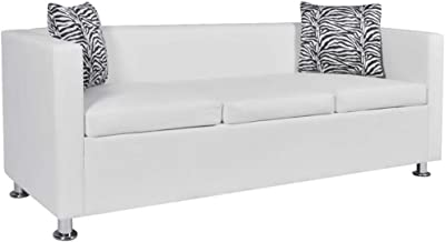 vidaXL Sofa Bed 3 Seater Lounge Suite Couch Chaise Armrest w/ 2 Pillow White