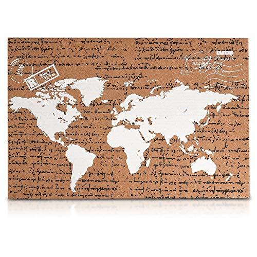Navaris tablero de corcho - Tablero de mapa del mundo 60x40CM con 10 chinchetas rojas...
