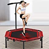 YUMUO Fitness-Trampolin mit optionaler Faltfunktion, ruhiger und gemeinsamer sanfter Bungee-Seile, Rebouner-Trampolin mit höhenverstellbarem Griff, Kantenabdeckung