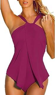 Best Womens Halter Neck One Piece Padded Tankini Swimsuit Monokini Swimwear Swimdress FBA Review