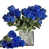 BalsaCircle 84 Royal Blue Silk Rose Buds - 12 Bushes - Artificial Flowers Wedding Party Centerpieces Arrangements Bouquets Supplies