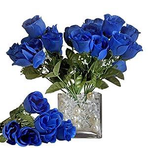 BalsaCircle 84 Royal Blue Silk Rose Buds – 12 Bushes – Artificial Flowers Wedding Party Centerpieces Arrangements Bouquets Supplies