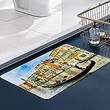 Carvapet Alfombras Cocina Lavable Antideslizante Viaje Artístico Romántico Estilo Histórico Casa Venecia Canal Turismo Famoso Alfombrilla Alfombra de Baño Alfombrillas Cocina 50x80 cm