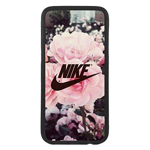 afrostore Funda Carcasa de móvil para Apple iPhone 6 Plus Logotipo Nike Flores Logo TPU Borde Negro