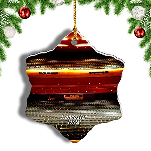 Weekino USA American Music Theatre Lancaster Christmas Ornament Travel Souvenir Tree Hanging Pendant Decoration Porcelain 886' Double Sided